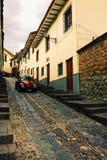 vägg för gator för tegelstenstadsflicka Arkivfoto