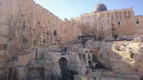 Vägg för Jerusalem gammal stadsfästning i Israel royaltyfria foton