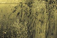 vägg för metall för gammal rostig järnguling gråaktig gulaktig med färgsp Arkivfoto