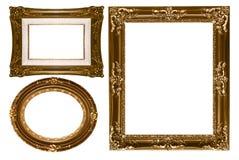 vägg för pi för dekorativ tom guld oval rektangulär Arkivfoton