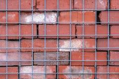 Vägg för röd tegelsten bak trådstaketet, abstrakt bakgrund och symmetri royaltyfri bild