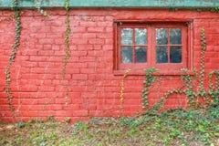 Vägg för röd tegelsten för bakgrund Fotografering för Bildbyråer