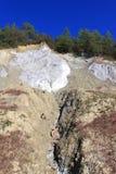 Vägg för stenigt berg av salt på Parajd Arkivbild