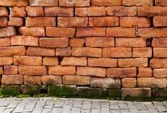 vägg för tegelsten 0ld Arkivbild