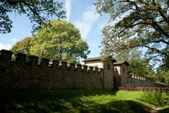 Vägg från en roman slott Arkivfoto