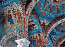 Vägg- freskomålning på den Sihastria kloster Arkivbild