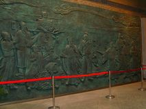 Vägg- historia av Kina som snidas Beautifully royaltyfria foton
