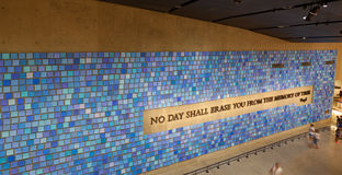 Vägg i nationella September 11 det minnes- museet, NYC Fotografering för Bildbyråer