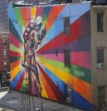 Vägg- konst av den brasilianska vägg- konstnären Eduardo Kobra i den Chelsea grannskapen i Manhattan Arkivfoton