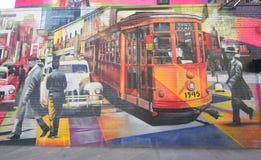 Vägg- konst av den brasilianska vägg- konstnären Eduardo Kobra i den Chelsea grannskapen i Manhattan Royaltyfria Foton