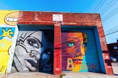 Vägg- konst i Bushwick, Brooklyn, NYC Arkivbild