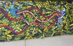 Vägg- konst i det Astoria avsnittet av Queens Arkivbild