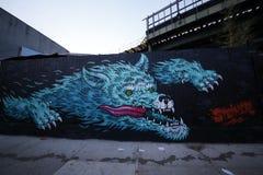 Vägg- konst på östliga Williamsburg i Brooklyn Arkivbild