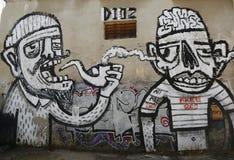Vägg- konst på den Florentin grannskapen i den sydliga delen av Tel Aviv Royaltyfria Bilder