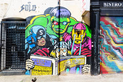 Vägg- konst på en vägg i staden av London, UK Royaltyfri Fotografi