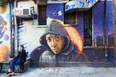 Vägg- konst på en vägg i staden av London, UK Royaltyfri Bild