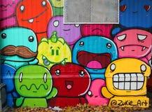 Vägg- konst på Houston Avenue i Soho Arkivbilder