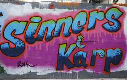 Vägg- konst på Houston Avenue i Soho Arkivbild