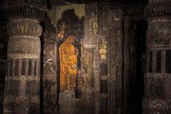 Vägg- målning av Buddha i Ajanta Royaltyfria Bilder