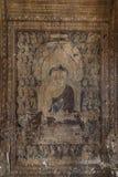 Vägg- målning av Buddha i Myanmar Arkivfoto