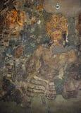 Vägg- målning av Vajrapani i Ajanta (grotta 1) Arkivfoto