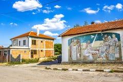 Vägg- målning för biblisk plats från 2014 av konstnären Christo Panev i byn av Krepost, Haskovo landskap, Bulgarien arkivfoton