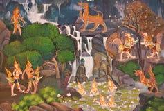 Vägg- målning på väggen i tempel. fotografering för bildbyråer