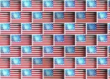 Vägg med bilder av flaggan av Amerika textur stock illustrationer