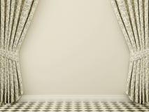 Vägg med gardiner Arkivbild
