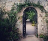 Vägg med porten, botaniska trädgårdar, Oxford, England Royaltyfri Bild
