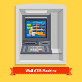 Vägg monterad utomhus- ATM-maskin stock illustrationer