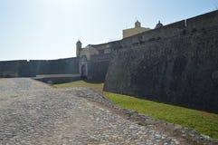 Vägg och ingång av fortet av vår dam Of Grace In Elvas Natur arkitektur, historia, gatafotografi April 11, 2014 arkivbild