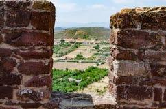 Vägg på slotten av Silves Arkivbilder