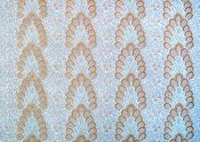 Vägg papper, tapet, med original, guld, blom- modell, blå bakgrund, renovering, design Arkivfoto
