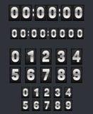 Vägg som bläddrar klockan och uppsättningen av nummer vektor illustrationer