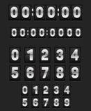 Vägg som bläddrar klockan och uppsättningen av nummer royaltyfri illustrationer