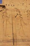 Vägg som snider, Philae tempel, sjö Nasser Fotografering för Bildbyråer