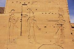 Vägg som snider, Philae tempel, sjö Nasser Royaltyfri Fotografi