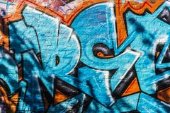 Vägg som täckas med grafitti i Ghent, Belgien Royaltyfria Bilder