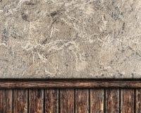 Vägg som täckas med murbruk och dekorativa plankor Fotografering för Bildbyråer