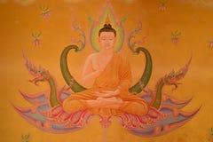 vägg- thai stiltempel Royaltyfri Fotografi