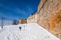 Väggar av den Brasov citadelen, Transylvania, Rumänien Arkivfoton