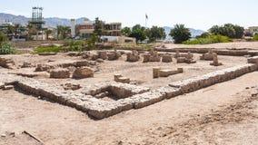 Väggar av den medeltida islamiska staden Ayla i Aqaba Arkivbilder