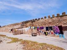 Väggar av Essaouira, Marocko Arkivbild
