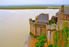 Väggar av Le Mont Saint-Michel Royaltyfri Fotografi