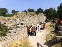 Väggar i Troy, den legendariska staden av Homer Arkivbild