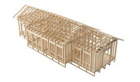 Väggar, tak och flroor för nybyggnad som hem- träinramar på vit bakgrund Royaltyfri Bild