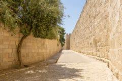 Väggarna och tornen för forntida stad i den gamla Jerusalem royaltyfri bild