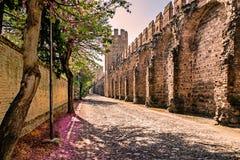 Väggarna som omger den medeltida byn som från inre beskådas Royaltyfria Bilder