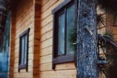 Väggbakgrund av huset som göras av timmer Fotografering för Bildbyråer